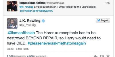 """""""Harry tendría que haber muerto para que el Basilisco hubiera eliminado el Horcrux que había dentro de él"""" Foto:Twitter"""