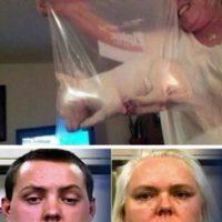 Se les ocurrió meter a su perrito en una bolsa plástica: Mary Snell y su hijo Britton James, fueron arrestados por crueldad animal luego de que metieron a su nuevo cachorro en una bolsa plástica para congelar. Así, posaron orgullosos. Esto llevó a que alguien los denunciara a la Policía. El perrito ahora es cuidado por otro miembro de la familia. Foto:Oddee