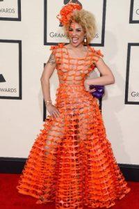 """Joy Villa, tu vestido de plástico tipo """"Los Juegos del Hambre"""" en modo wannabe nos hizo la noche. Foto:Getty Images"""