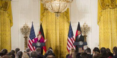 Merkel y Obama ofrecen conferencia de prensa después de su reunión en la Casa Blanca Foto:AFP