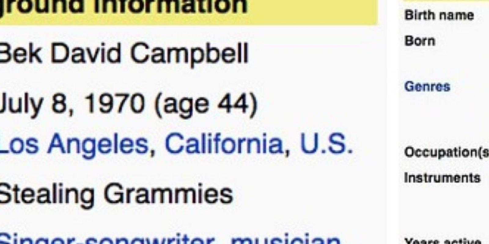 """En géneros pusieron: """"Robar Grammys"""" Foto:Wikipedia"""