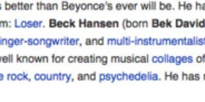 """""""Para todos los idiotas que están editando esto, la música de Beck es mejor de la que Beyonce será alguna vez"""". Foto:Wikipedia"""