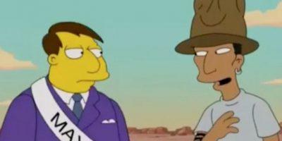 """VIDEO: ¿Felices? Pharrell Williams visitó la ciudad de """"Los Simpson"""""""