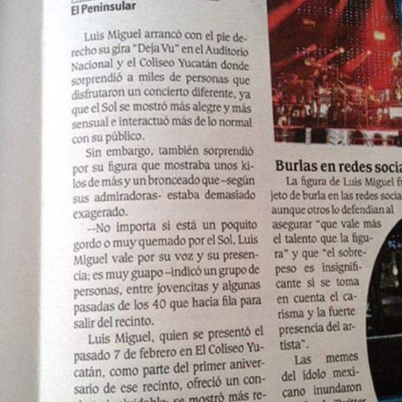 """¿Se acuerdan cuando Luis Miguel no fue al concierto de Mérida por andar """"borracho y drogándose""""? Creo que los chicos de un diario local no entendieron eso. Ahora son la sensación viral. Foto:Twitter"""