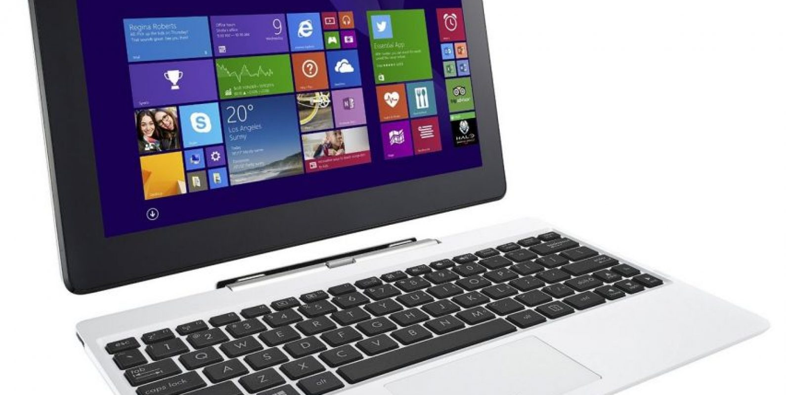Este dispositivo es un equipo notebook dos en uno que se convierte en una tablet con Windows 8.1, tiene incluido Microsofot Office, su procesador es un Intel Atom Quad Core Bay Trail-T Z3740, pantalla multitouch de 10.1 pulgadas, 2GB de memoria RAM y ranura para microSD de 32 o 64GB. Foto:Asus