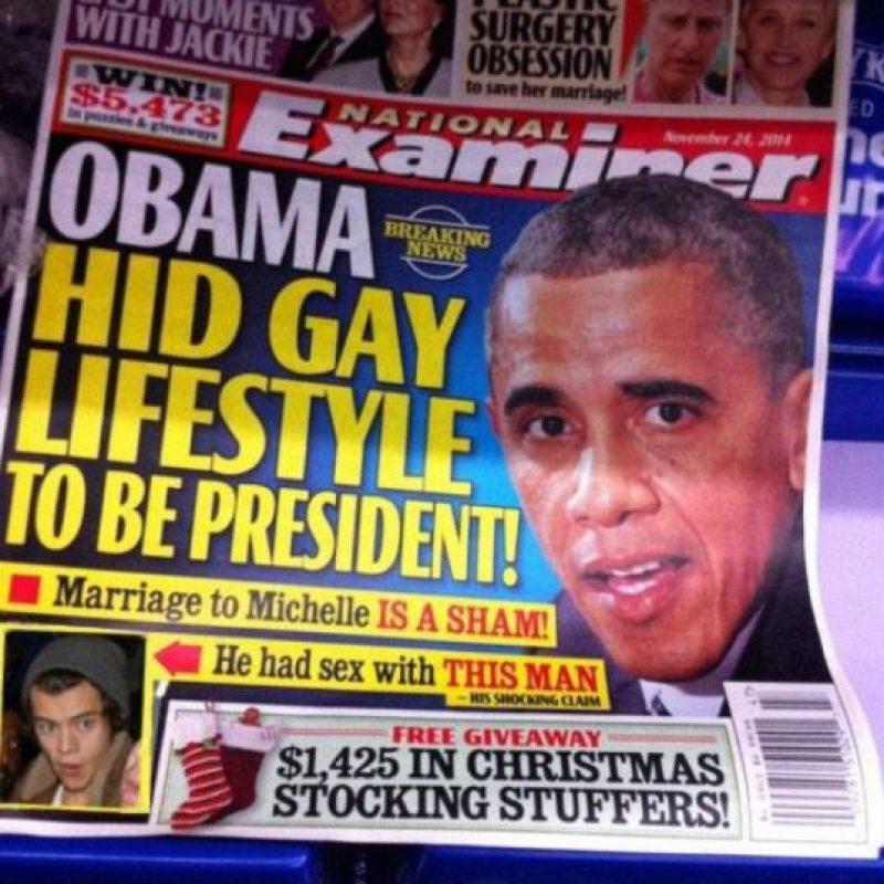 """Una portada falsa del diario """"National Examiner"""" afirmaba que el mandatario había tenido sexo con Styles… Foto:Twitter"""