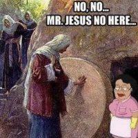 Pasajes bíblicos, Jesús con dinosaurios y el Cristo malamente restaurado que se hizo popular en 2013 son algunos de los temas de los memes. Foto:Jesus Memes