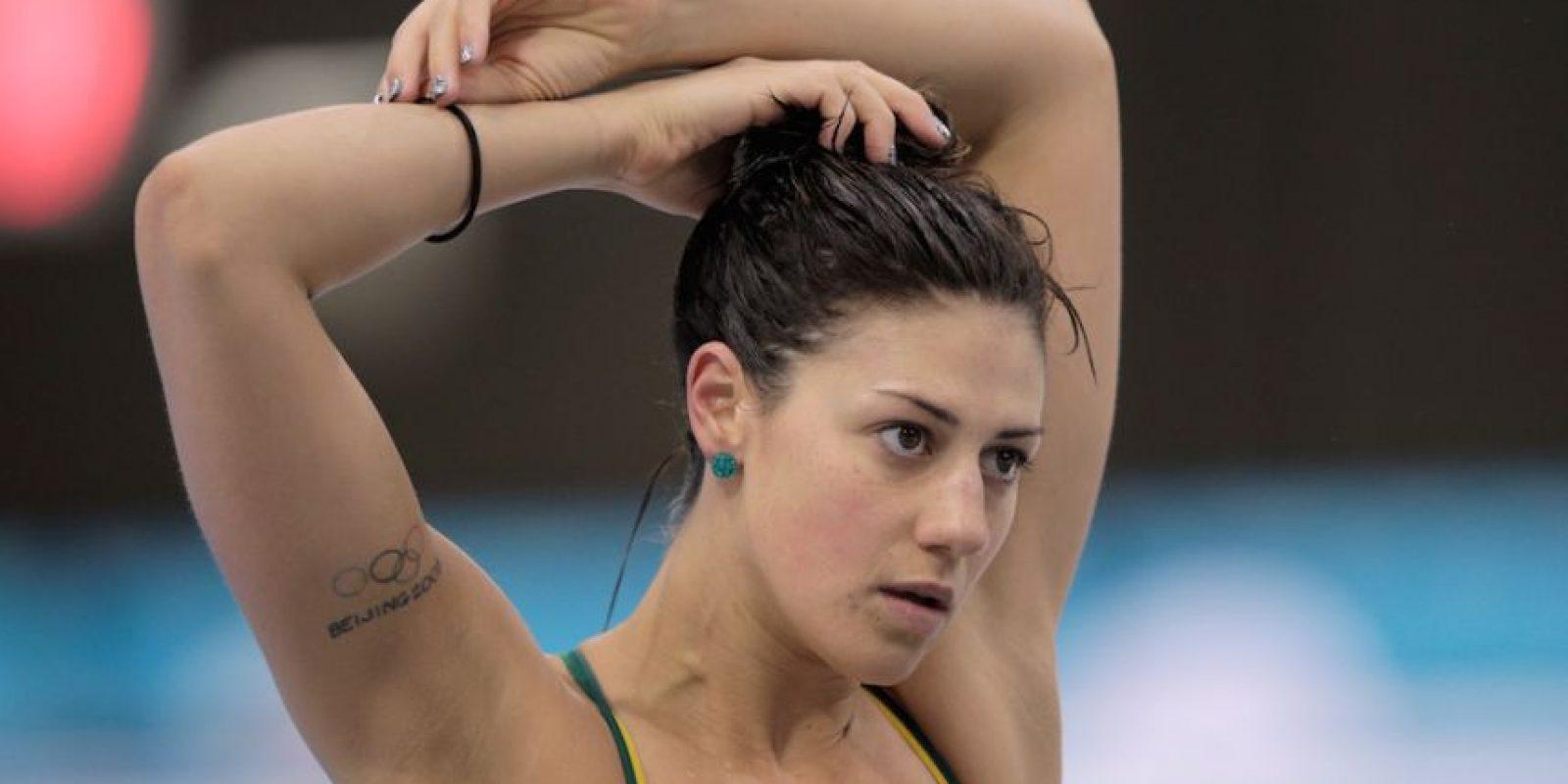 Stephanie Rice es una nadadora australiana y se hizo un tatuaje del escudo de los aros olímpicos durante Beijing 2008. Foto:Getty Images