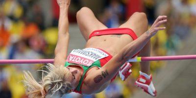 Maksimava tiene el escudo de los Juegos Olímpicos de Beijing 2008. Foto:Getty Images