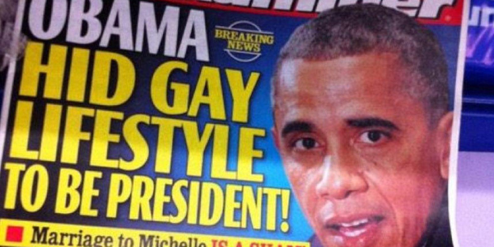 """En diciembre del año pasado, una portada falsa del periódico """"National Examiner"""" aseguraba que el cantante había tenido sexo con el presidente de los Estados Unidos, Barack Obama"""