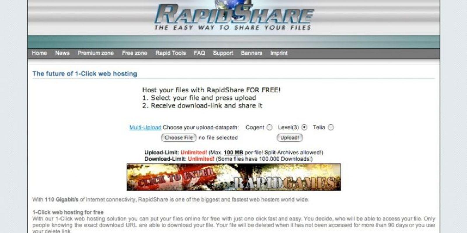 Rapidshare anunció su cierre este mes de febrero, tras 13 años funcionando, por diversos problemas legales debido a violaciones a los derechos de autor. Foto:Rapidshare