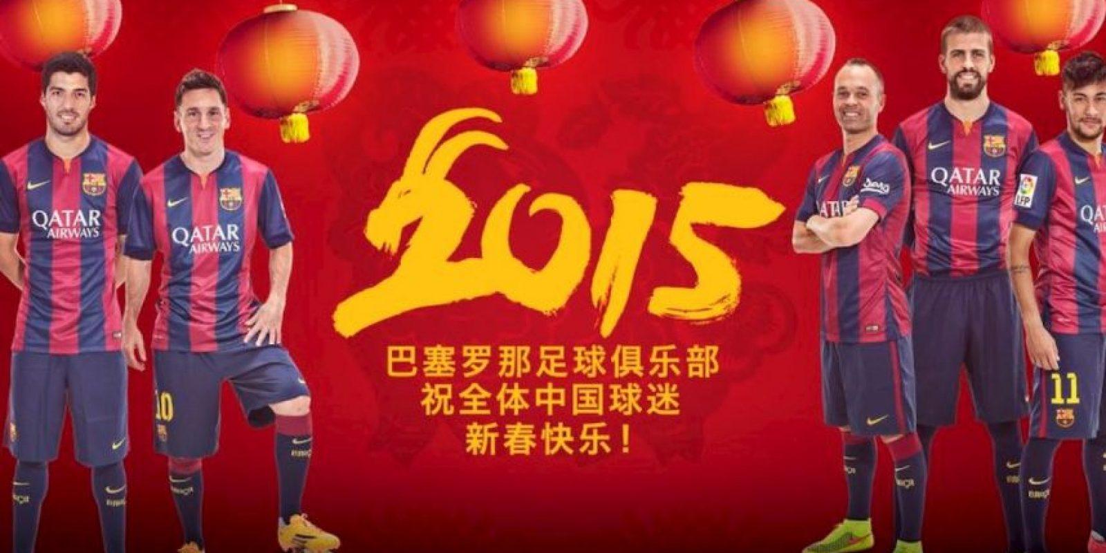 Los futbolistas del Barcelona desearon feliz año nuevo chino. Foto:Barcelona