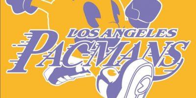 """Pac-Man"" en el logo de Los Angeles Lakers. Foto:instagram.com/ak47_studios"