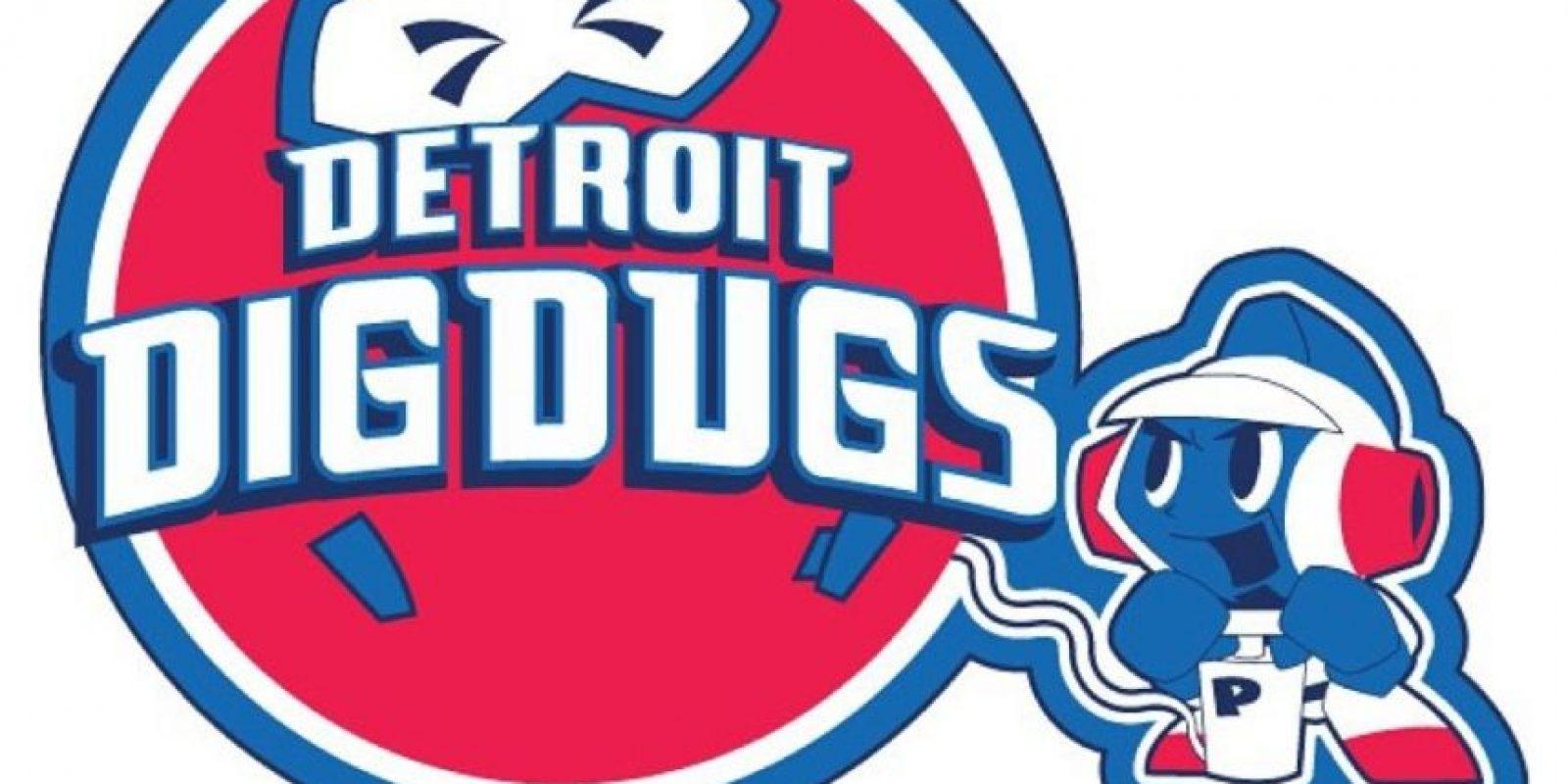 """""""Dig Dug"""" en el logo de Detroit Pistons. Foto:instagram.com/ak47_studios"""