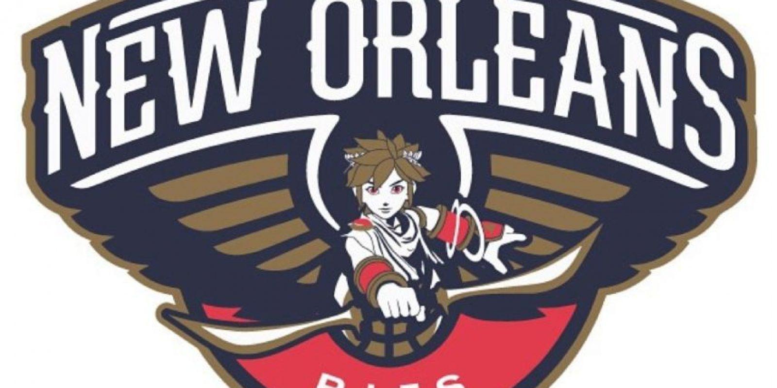 """""""Pit"""" de """"Kid Icarus"""" en el logo de New Orleans Pelicans. Foto:instagram.com/ak47_studios"""