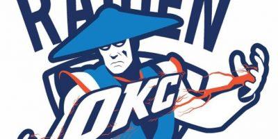 """Raiden"" de ""Mortal Kombat"" en el logo de Oklahoma City Thunder. Foto:instagram.com/ak47_studios"