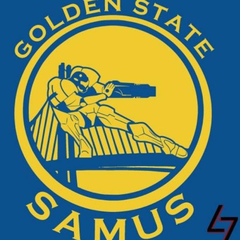 """Samus Aran"" de ""Metroid"" en el logo de Golden State Warriors. Foto:instagram.com/ak47_studios"