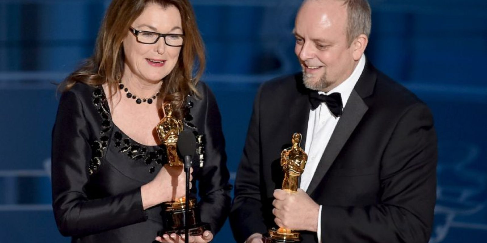 "Frances Hannon y Mark Coulier encargados del maquillaje y vestuario en ""The Grand Budapest Hotel"" Foto: Getty Images"