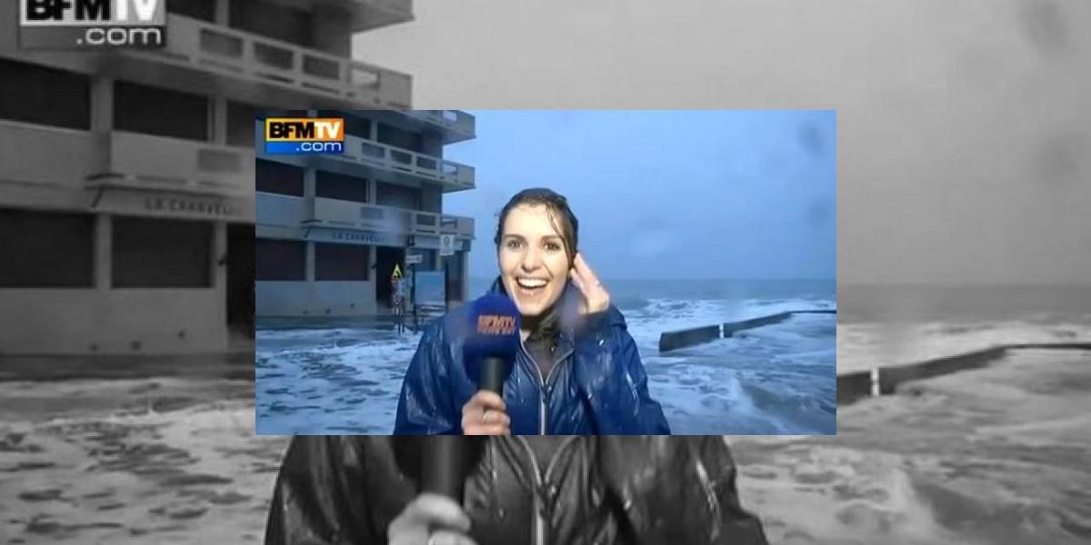 VIDEO. Ola arrastra a reportera mientras cubría una noticia