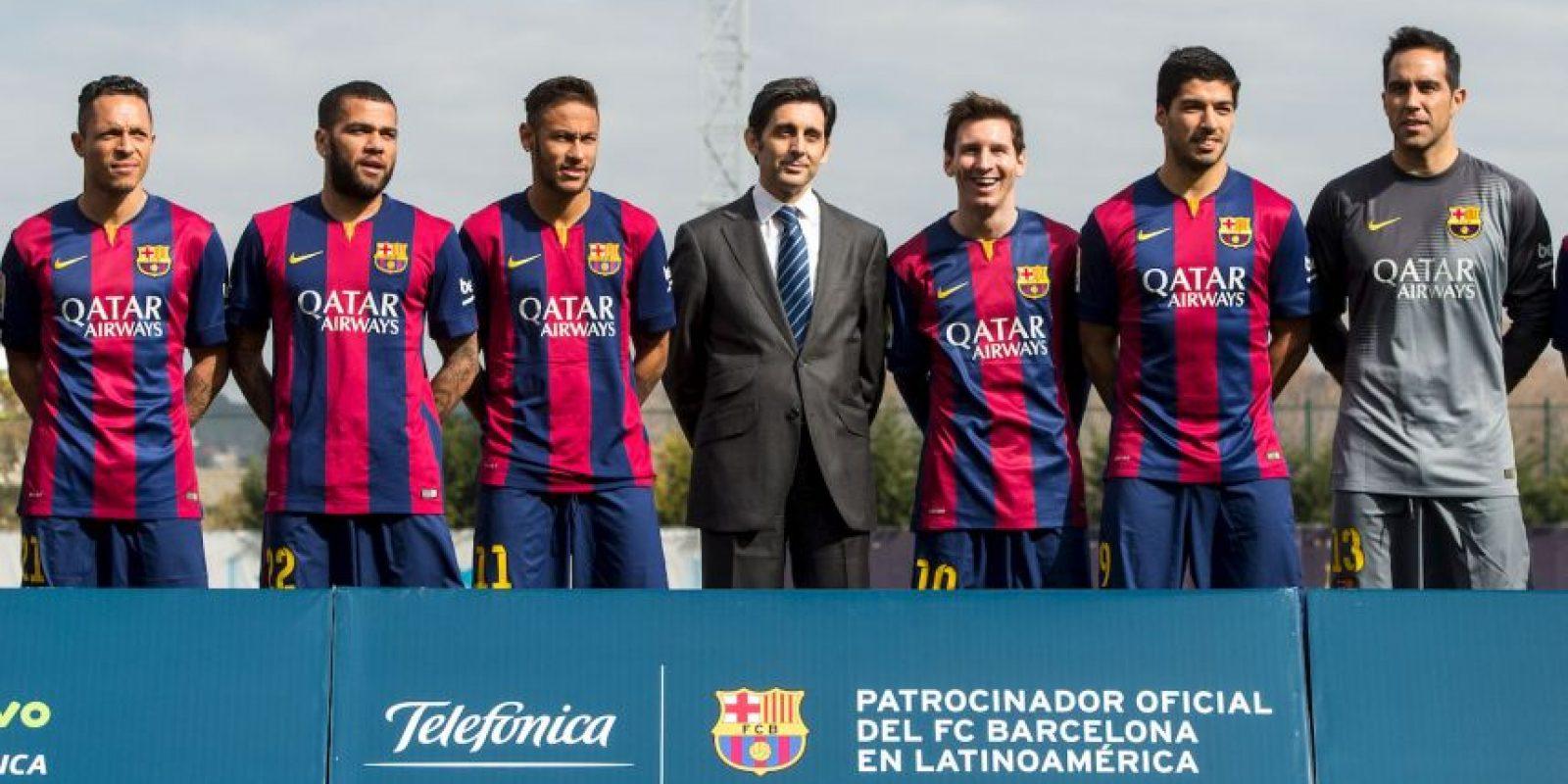 Los nueve representantes latinos en el Barça acudieron a la presentación Foto:Getty