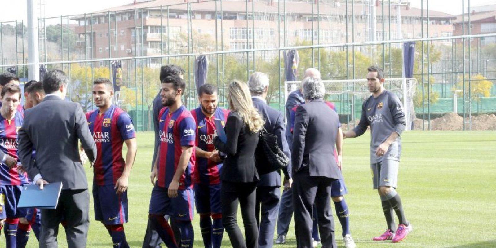 Los nueve representantes latinos en el Barça acudieron a la presentación Foto:Ramón Mompió
