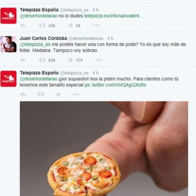 Uno de los casos más virales ha sido el de Telepizza, de España y su respuesta a un usuario. Foto:Casos de Éxito de community managers