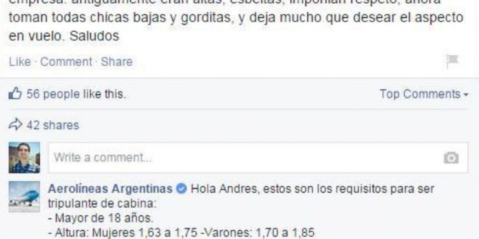 Esta genial respuesta del CM de Aerolíneas Argentinas también fue viral en su momento. Foto:Casos de Éxito de community managers
