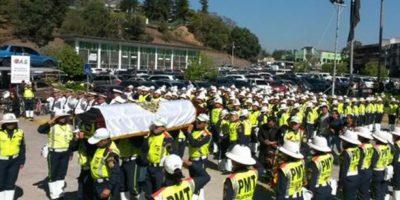 Honras fúnebres a Simón Velásquez, asesinado al ordenar el tránsito