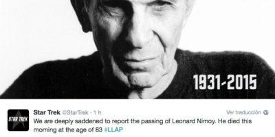 """""""Con una profunda tristeza informamos que Leonard Nimoy falleció esta mañana a los 83 años"""", compartió la cuenta oficial de de Star Trek Foto:Twitter"""
