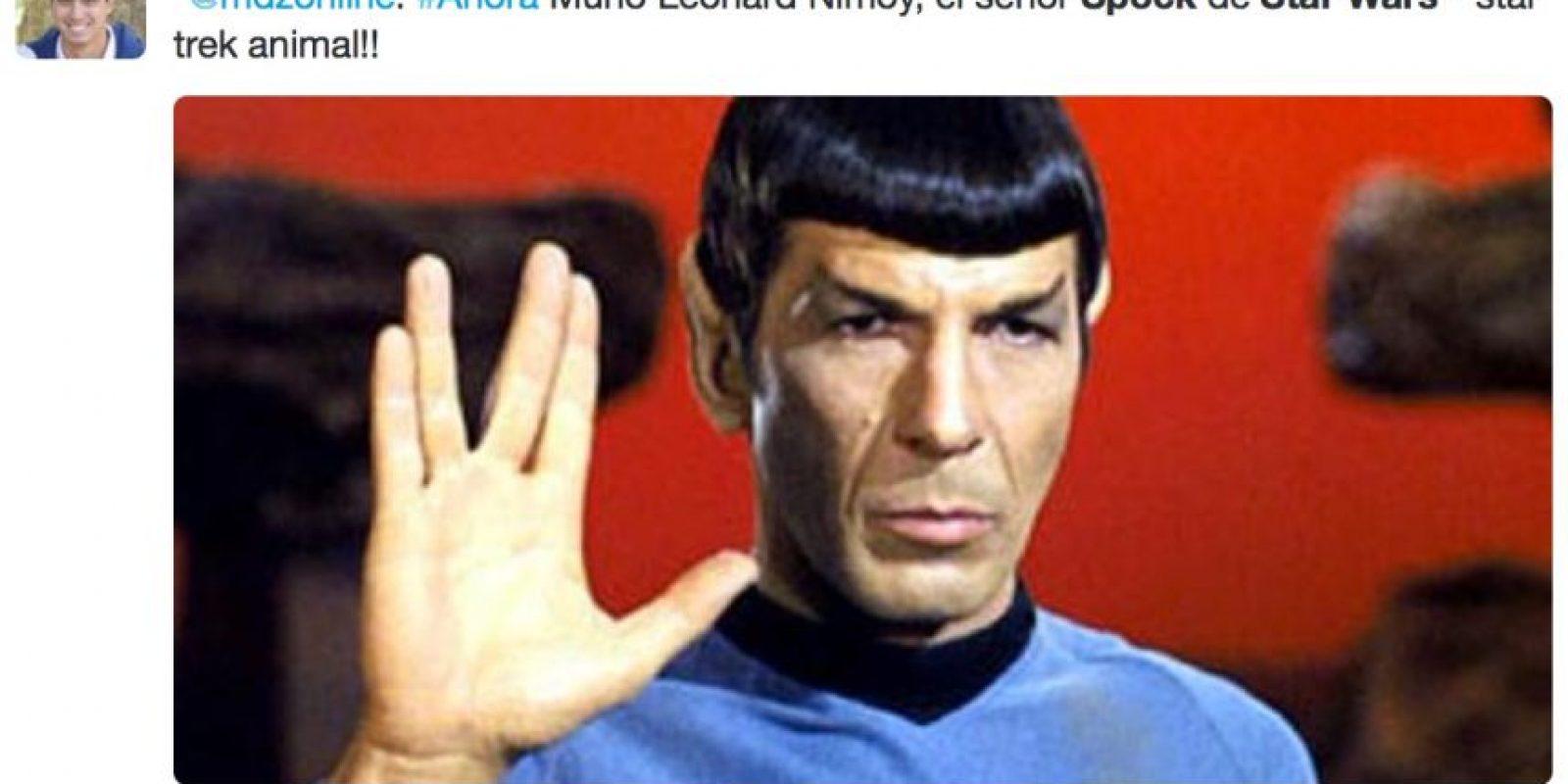 """Quizás por considerarlo """"cosas de nerds"""" de una manera prejuiciosa y despectiva o por puro desconocimiento, muchos cometen errores garrafales con respecto a Leonard Nimoy, el legendario """"Dr. Spock"""", en estos momentos. Foto:Twitter"""