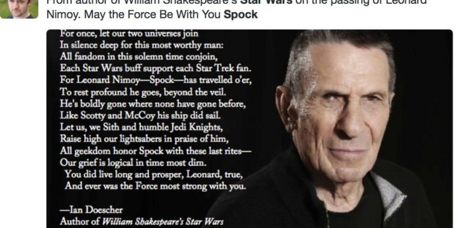 "Otros han hecho homenajes, desde ""Star Wars"", a Nimoy Foto:Twitter"