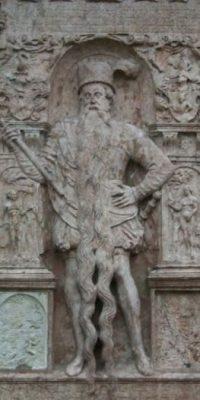 Hans Steininger vivió en el siglo XVI. Era célebre por su barba larga, pero en un incendio se le olvidó amarrársela, se tropezó y se rompió el cuello. Foto:Wikipedia
