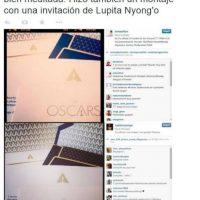 Mostró en su Instagram una invitación a los Oscars, pero era la de Lupita Nyong' o Foto:Instagram