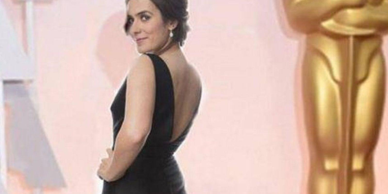 Ella es Anna Allen, actriz española que había salido en una que otra serie y se hizo publicidad en su país diciendo que iba a los Oscar. Todo era mentira. Foto:Twitter