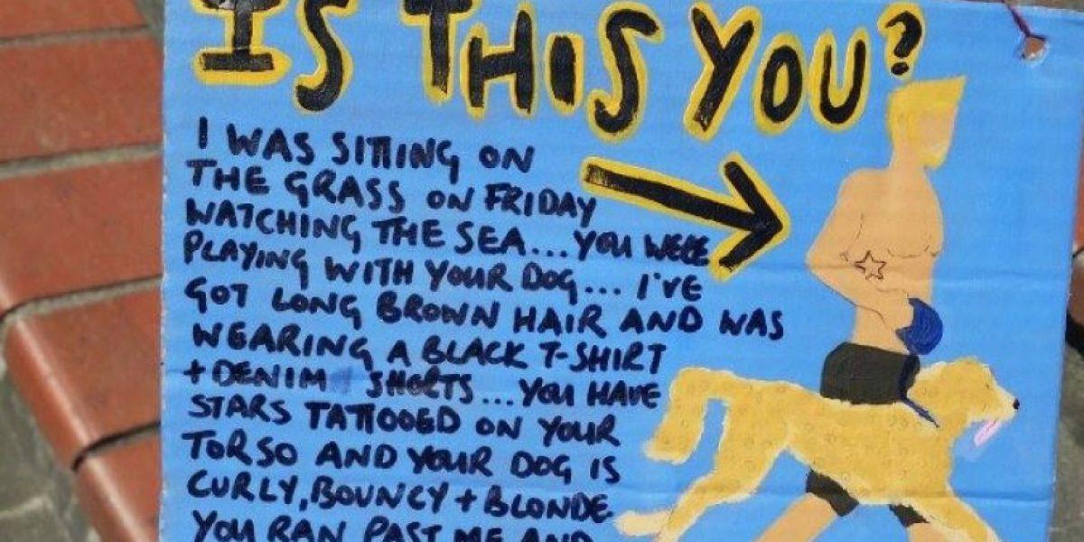 Mujer dejó cartel romántico para chico que vio en la calle y él le respondió