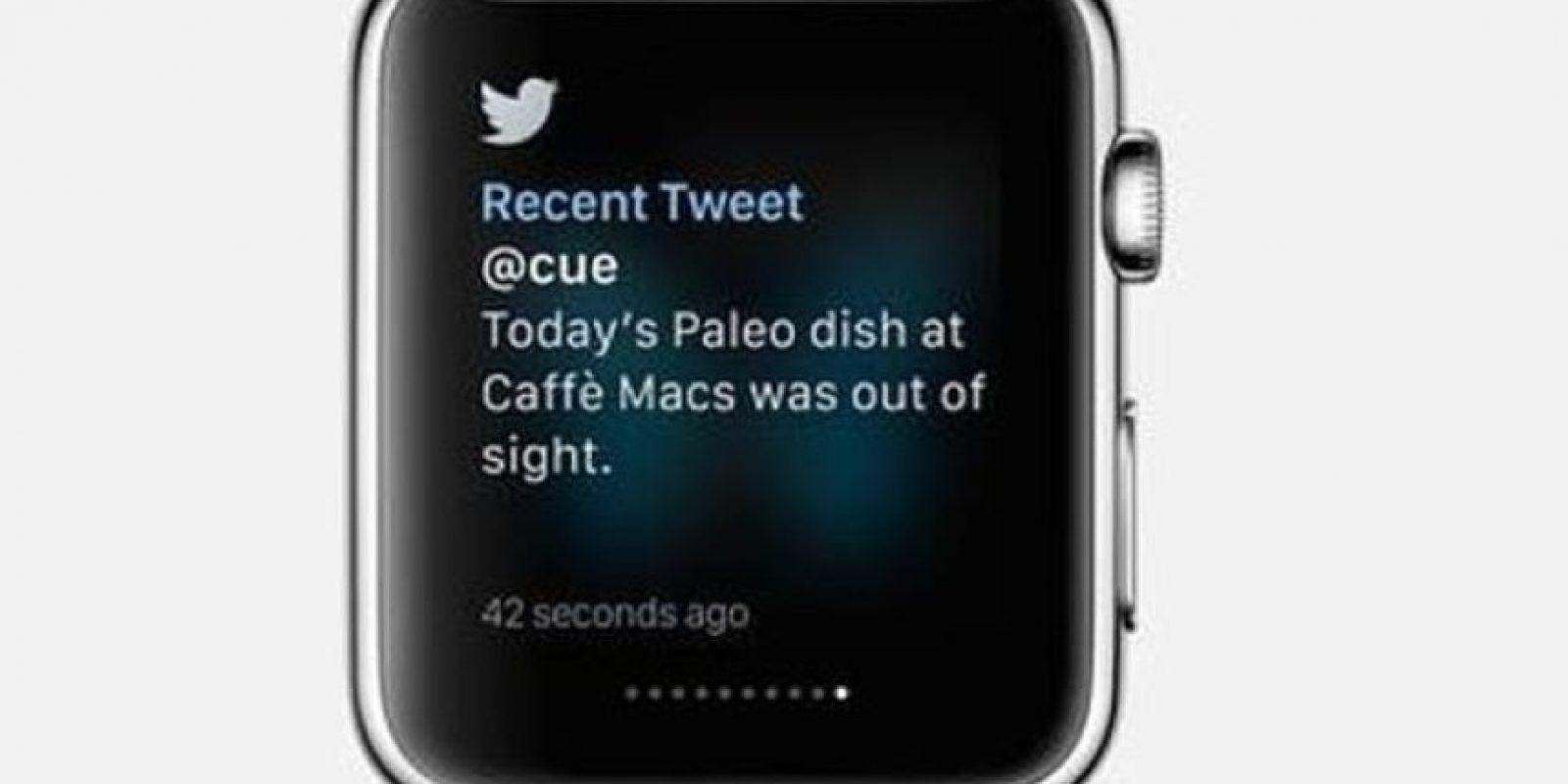 Twitter: Es posible recibir notificaciones, ver trending topics y escribir nuevos tuits mediante comandos de voz. Foto:Apple