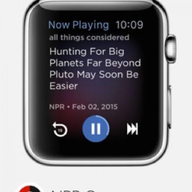 NPR One: La radio pública estadounidense en su muñeca, pueden buscar programas específicos y todo lo que deseen. Foto:Apple