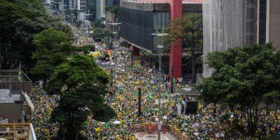 Así se veía la marcha pacífica desde el aire. Foto:Getty Images