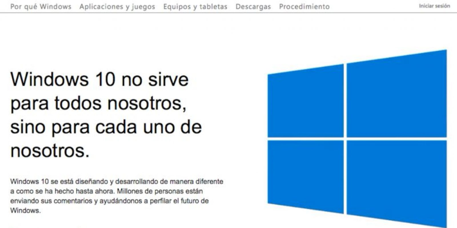 Las actualizaciones de Windows 10 están disponibles en la pagina oficial de la empresa. Foto: Vía Página oficial de Microsoft http://windows.microsoft.com/es-mx/windows-10/about