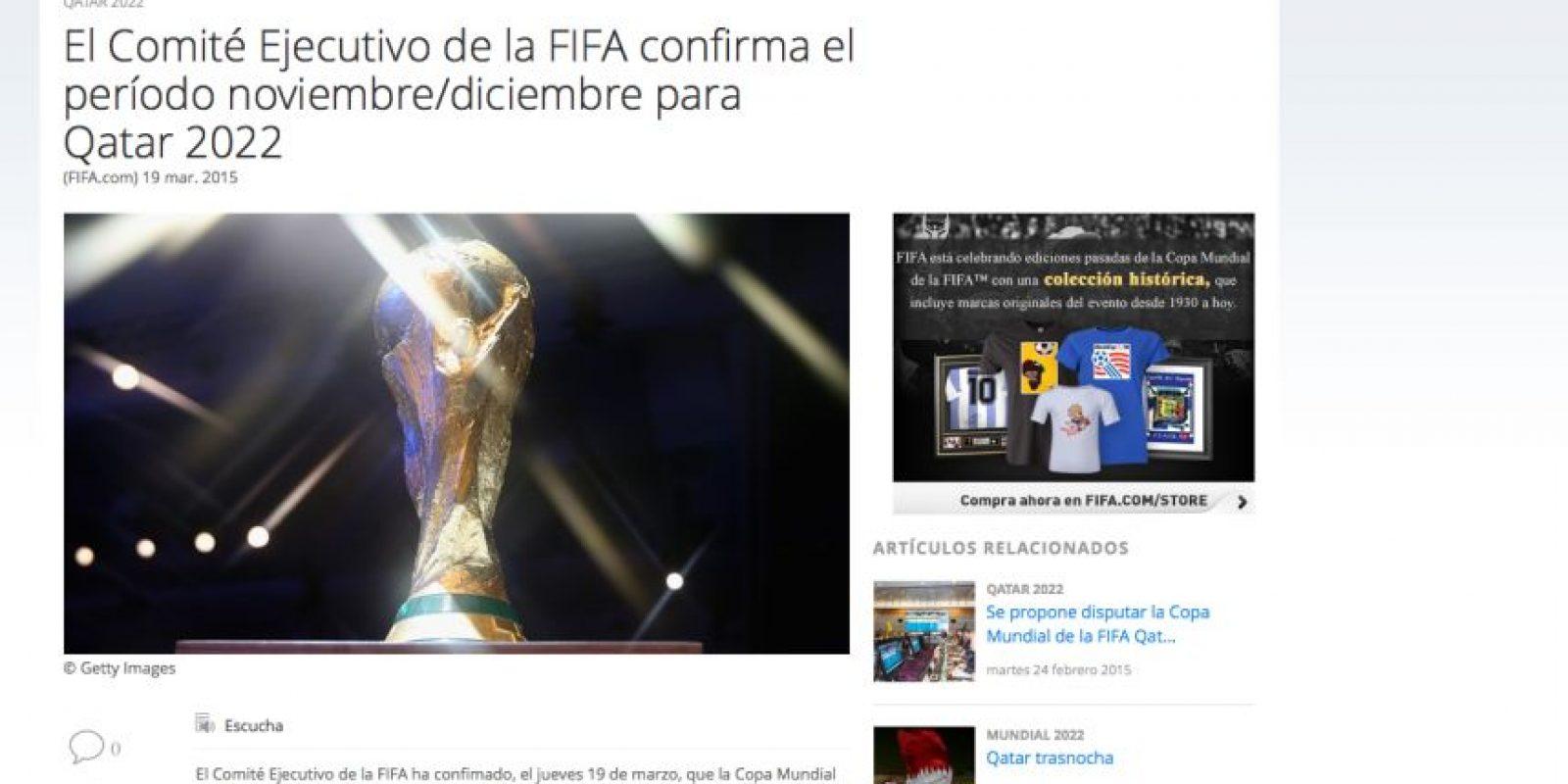 La FIFA decidió este martes las fechas para la celebración del torneo de 2022. Foto:Publinews