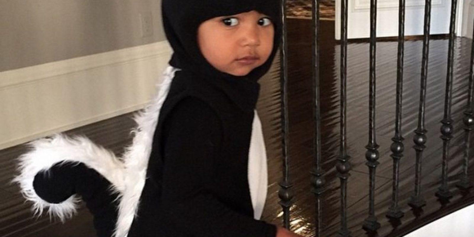 4. En Halloween Kim vistió a North de zorrillo. No podemos negar que se veía tierna, pero ¿a quién le gustaría que su mamá los disfrazara de una animal con mal olor? Foto:Instagram