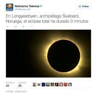 En América, Televisa también dio salida a las notas sobre el fenómeno. Foto:Twitter @NTelevisa_com