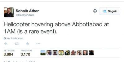 Sohaib Athar tuiteó sobre la incursión en el recinto de Osama bin Laden en Pakistán. Foto:twitter.com/ReallyVirtual