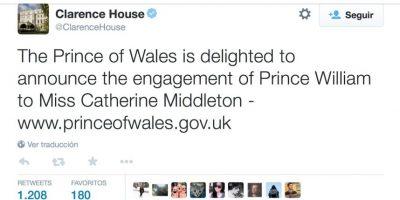 Clarence House, la oficina privada del Príncipe de Gales, fue la primera casa real en Twitter y aunició el compromiso del Principe Guillermo con Kate Middleton. Foto:twitter.com/ClarenceHouse