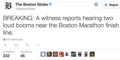 Twitter ha sido crucial para difundir noticias sobre las dos bombas de la Maratón de Bostón. Foto:twitter.com/BostonGlobe