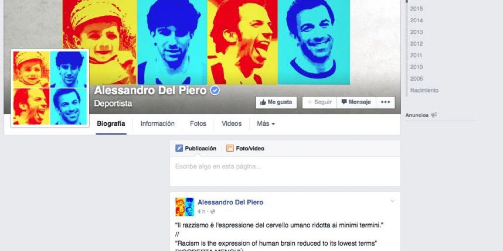El italiano Alessandro Del Piero escribió en su muro en Facebook una frase de la guatemalteca ganadora del Premio Nobel de la Paz. Foto:AFP