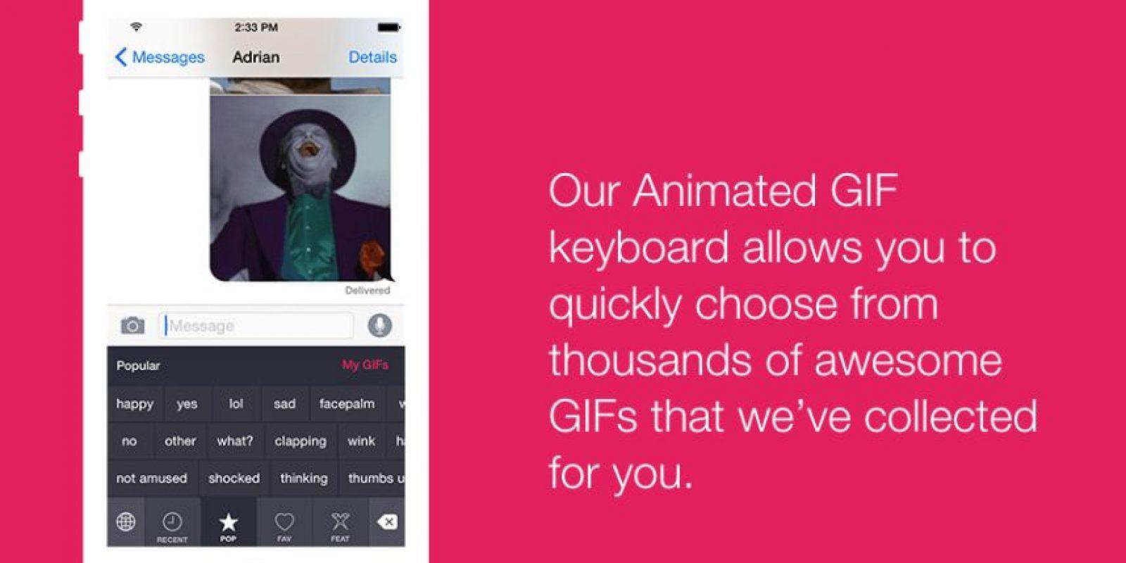 PopKey es sólo para iPhone y permite poner tus GIFs favoritos en un conversación. Foto:popkey.co/