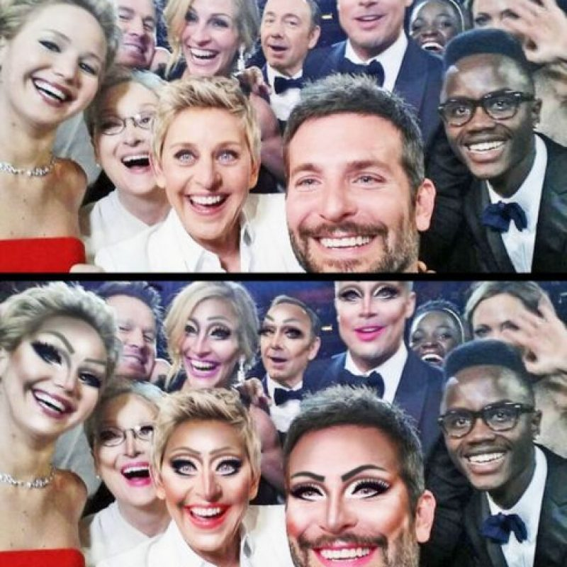 La selfie del premio Oscar 2014 Foto:celebritiesasdragqueens.tumblr