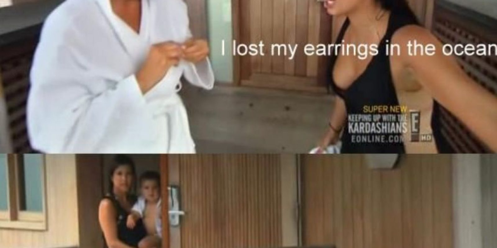 """9. Kim llega traumatizada porque perdió sus pendientes en el mar (regalo de Kanye). Kris le dice: """"Kim hay gente que está muriendo"""". Foto:E!"""
