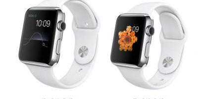 Estas son las versiones de Apple Watch de 42 y 38mm. Su precio irá desde 550 a los mil 100 dólares. En esta foto vemos su versión blanca. Foto:Apple